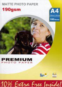 Premium matta valokuvapaperi A4 190g (100)