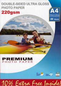 Premium erittäin kiiltävä kaksipuoleinen valokuvapaperi A4 220g (20)