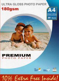 Premium kiiltävä valokuvapaperi A4 180g (20)