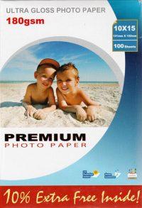 Premium kiiltävä valokuvapaperi A6 180g (100)