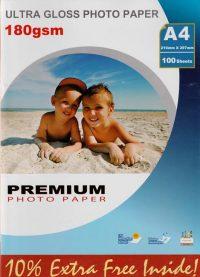 Premium kiiltävä valokuvapaperi A4 180g (100)