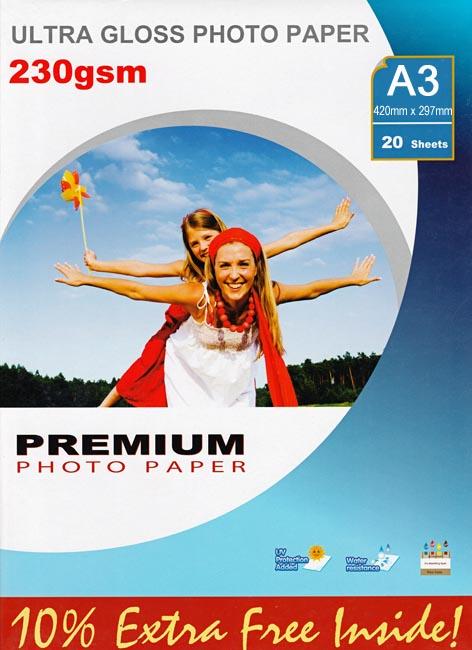 Premium kiiltävä valokuvapaperi A3 230g (20)