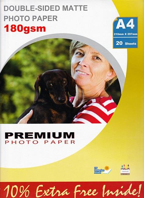 Premium matta kaksipuolinen valokuvapaperi A4 180g (20)