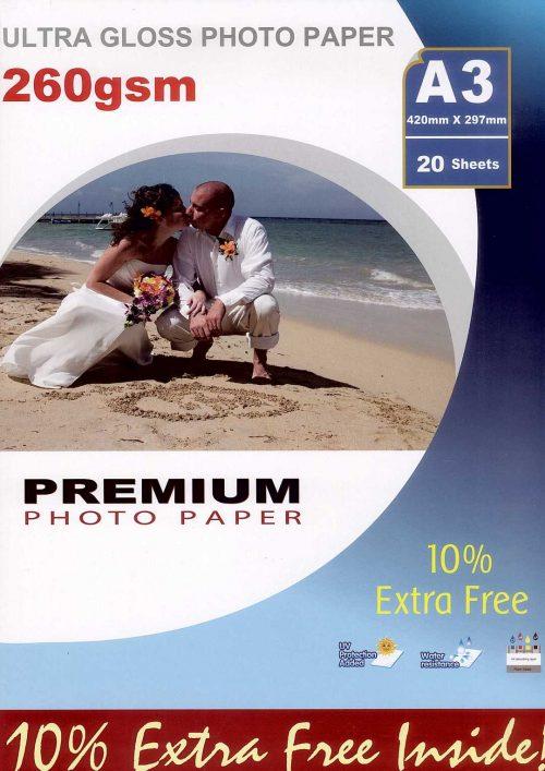 Premium kiiltävä valokuvapaperi A3 260g