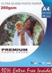 Premium kiiltävä valokuvapaperi A4 260g