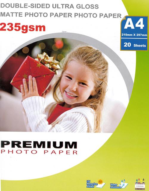 Premium kaksipuoleinen valokuvapaperi glossy/matta A4 235g (20)