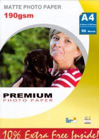 Premium matta valokuvapaperi A4 190g (50)