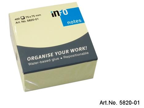 Viestilappu Info Notes 75 x 75 mm keltainen 400kpl