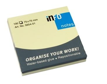 Viestilappu Info Notes 75 x 75 mm keltainen 100kpl