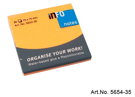 Viestilappu Info Notes 75 x 75 mm oranssi 80kpl