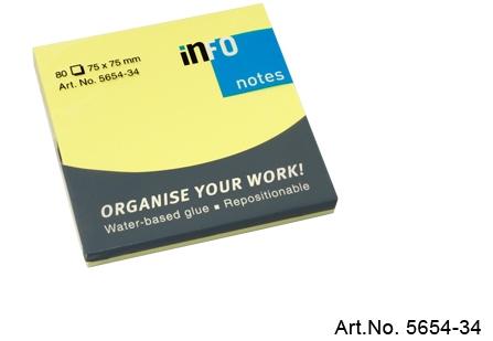 Viestilappu Info Notes 75 x 75 mm kirkas keltainen 80kpl