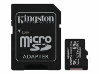 KINGSTON 64GB micSDXC Canvas Select Plus 100R A1 C10 muistikortti ja adapteri
