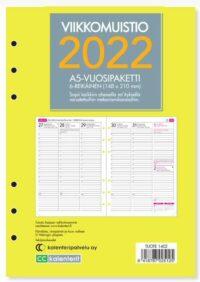 Viikkomuistio A5 2022 6-reikäinen vuosipaketti