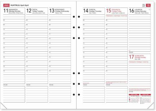 Viikkomuistio A5 2022 6-reikäinen vuosipaketti sivuaukeama