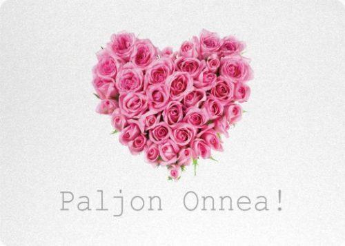 kortti ruususydän pinkki paljon onnea