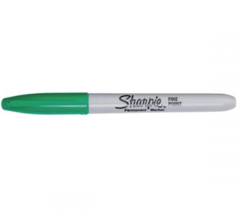 Sharpie huopakynä vihreä 1 mm pysyvään merkitsemiseen.