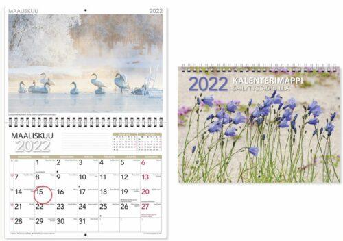 Kalenterimappi säilytystaskulla 2022 ja aukeama
