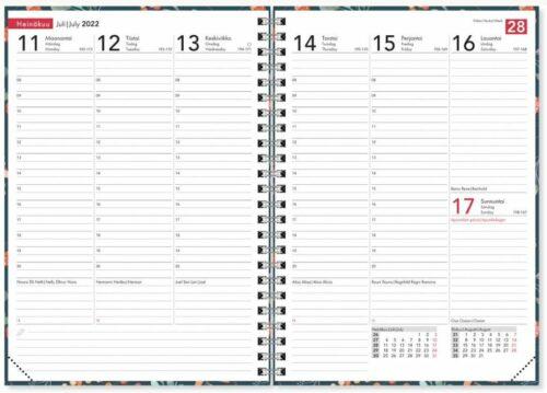Pöytäkalenteri A5 2022 Ontime Marjat sivuaukeama