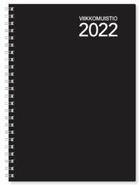 Viikkomuistio A5 2022 wire-sidottu vuosipaketti musta